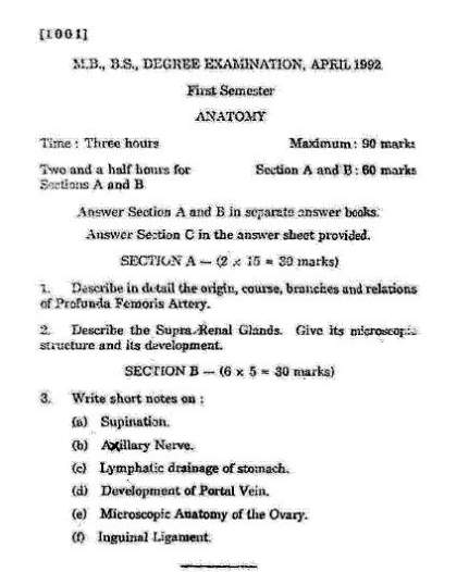 Ntruhs Mbbs 1st Year Previous Question Papers Check Ntr University