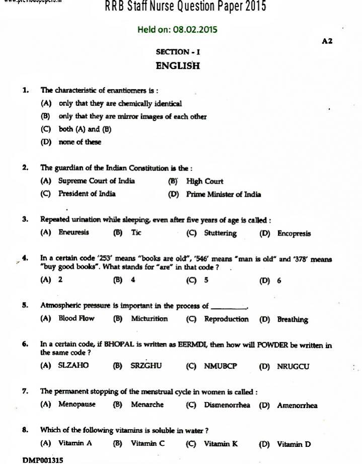 DHMS Rajasthan Nurse Grade 2 Previous Papers Check Nurse